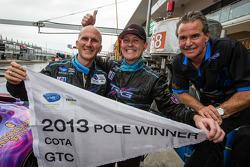 GTC pole winner Damien Faulkner celebrates with Ben Keating and Kevin Buckler
