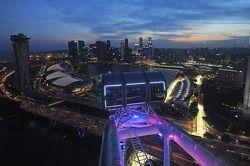 Teatral horizonte do Cingapura Flyer