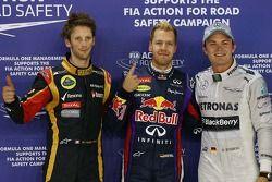 pole Sebastian Vettel, Red Bull Racing, segunda posição de Nico Rosberg, Mercedes AMG F1, e terceira
