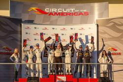 GT podium: class winners Jan Magnussen and Antonio Garcia, second place Jonathan Bomarito and Kuno Wittmer, third place Dirk Müller and John Edwards