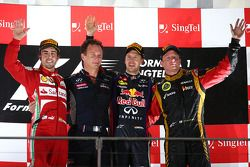 1st place Sebastian Vettel, Red Bull Racing, 2nd Fernando Alonso, Ferrari and 3rd place Kimi Raikkon