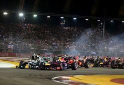 Arrancada Sebastian Vettel, Red Bull Racing y Nico Rosberg, Mercedes GP
