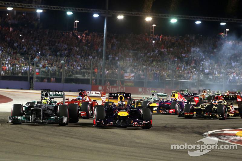 Start of the race, Sebastian Vettel, Red Bull Racing and Nico Rosberg, Mercedes GP