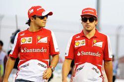Felipe Massa, Ferrari and Fernando Alonso, Ferrari en el desfile de pilotos