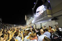 Crowd beneath the podium