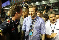 Christian Horner, Red Bull Racing, Sporting Director and David Beckham (GBR)