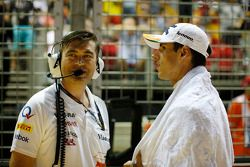 Bradley Joyce, Sahara Force India F1 ingeniero con Adrian Sutil, Sahara Force India F1 en la parrill