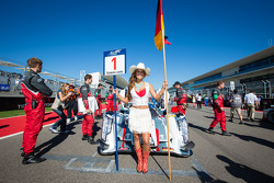 Grid girl for the pole winning car