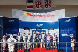 LMGTE Am podium: class winners Stuart Hall, Jamie Campbell-Walter, second place Christoffer Nygaard, Kristian Poulsen, Nicki Thiim, third place Raymond Narac, Jean-Karl Vernay