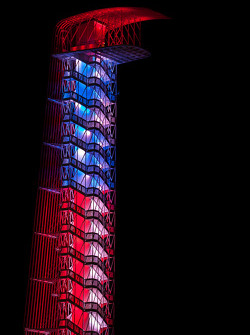 Circuit of the Americas tower colors at night