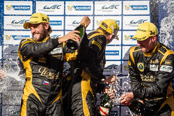 LMP2 podium: champagne for Jan Charouz, Dominik Kraihamer and Thomas Holzer