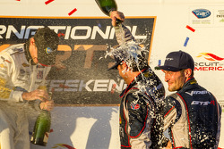 GT podium: champagne for Jonathan Bomarito and Kuno Wittmer