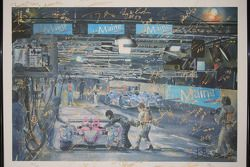 A piece of artwork signed by all the Aston Martin and Corvette Racing drivers at the 2013 24 Hours of Le Mans
