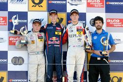 Race winner Daniil Kvyat, second place Felix Rosenqvist, third place Alex Lynn