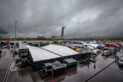 Heavy rain on the paddock before the afternoon practice
