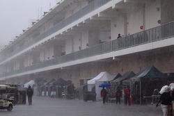 Heavy rain on the paddock