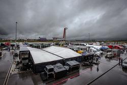 Pluie sur le paddock d'Austin