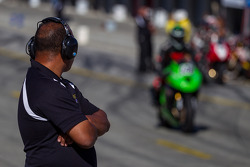 Pit official watching