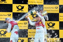 Race winner Augusto Farfus, second place Mike Rockenfeller, third place Timo Scheider