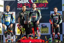 Saturday Race Podium: 1st place Tom Sykes, 2nd place Chaz Davies, 3rd place Eugene Laverty