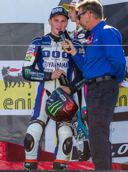 Cameron Beaubier on the podium after winning the Sportbike race