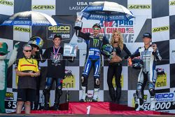 Superbike podium: 1st place Josh Hayes, 2nd place Josh Herrin, 3rd place Larry Pegram
