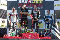 Sunday Superbike podium: 1st place Eugene Laverty, 2nd place Davide Giugliano, 3rd place Marco Melan