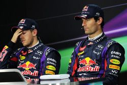 The FIA Press Conference: Sebastian Vettel, Red Bull Racing with team mate Mark Webber, Red Bull Rac