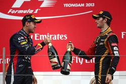 Sebastian Vettel, Red Bull Racing ve Romain Grosjean, Lotus F1 Team
