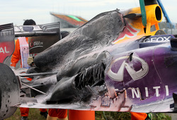 Detail of the fire damage to Mark Webber's Red Bull