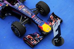 The Red Bull Racing RB9 of race winner Sebastian Vettel, Red Bull Racing in parc ferme