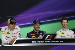 The post race FIA Press Conference: Kimi Raikkonen, Lotus F1 Team, second; Sebastian Vettel, Red Bul