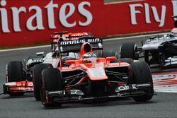 Jules Bianchi, Marussia F1 Team MR02 leads Jenson Button, McLaren MP4-28