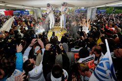 Rally winners Sébastien Ogier and Julien Ingrassia, Volkswagen Polo WRC, Volkswagen Motorsport