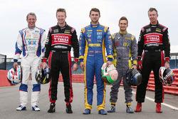 Titel-kandidaten Andrew Jordan, Jason Plato, Matt Neal, Gordon Shedden en Colin Turkington
