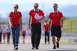 Max Chilton, Marussia F1 Team walks the circuit with Gary Gannon, Marussia F1 Team Race Engineer