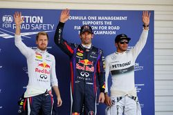 Qualifying İlk üç kapalı park: Sebastian Vettel, Red Bull Racing, 2.; Mark Webber, Red Bull Racing,