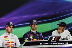 Qualifying İlk üç FIA basın toplantısı: Sebastian Vettel, Red Bull Racing, 2.; Mark Webber, Red Bull
