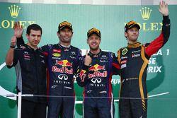 Yarış galibi Sebastian Vettel, 2. Mark Webber, 3. Romain Grosjean