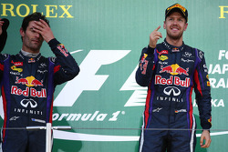 Race winner Sebastian Vettel, Red Bull Racing with team mate Mark Webber, Red Bull Racing in parc ferme