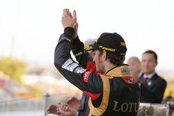 Romain Grosjean, Lotus F1 Team kutlama yapıyor his 3. position, Podyum