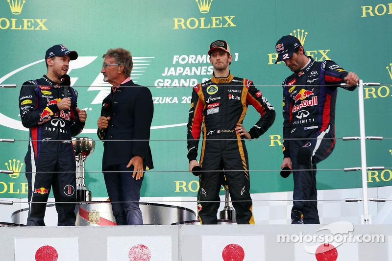 2013 Podium: 1. Sebastian Vettel, Red Bull - Renault. 2. Romain Grosjean, Lotus-Renault. 3. Маrk Webber, Red Bull - Renault