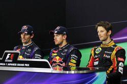 FIA basın toplantısı: Mark Webber, Red Bull Racing, 2.; Sebastian Vettel, Red Bull Racing, Yarış gal