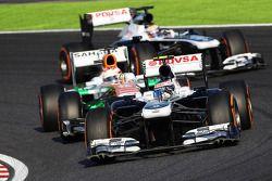 Valtteri Bottas, Williams FW35 et Paul di Resta, Sahara Force India VJM06 et Pastor Maldonado, Willi