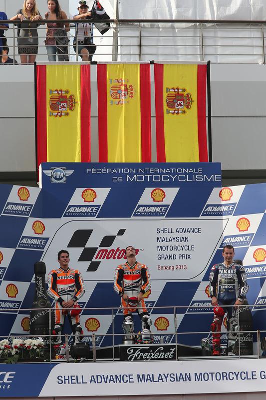 Le podium : Dani Pedrosa, Marc Márquez, Jorge Lorenzo