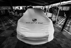 #30 NGT Motorsport Porsche 911 GT3 Cup under cover after being withdrawn from the race