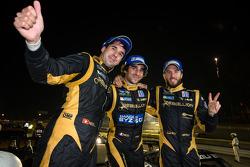 P1 and overall race winners Neel Jani, Nicolas Prost and Nick Heidfeld celebrate