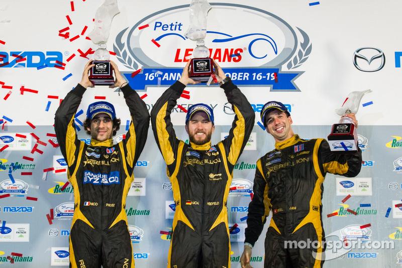 P1 podium: class and overall winners Nick Heidfeld, Neel Jani, Nicolas Prost