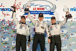 P2 podium: class winners Scott Tucker, Ryan Briscoe, Marino Franchitti