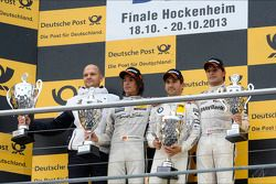 podium final race, MTEK team head Ernest Knoors, Roberto Merhi, Mercedes AMG DTM-Team HWA,Timo Glock, BMW Team MTEK, Bruno Spengler, BMW Team Schnitzer